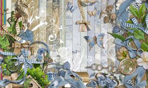 花朵缎带与树木蝴蝶等欧美剪贴素材