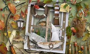 窗户灯塔与游鱼帆船等欧美剪贴素材