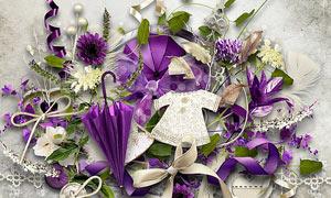 缎带藤蔓与紫色雨伞等欧美剪贴素材