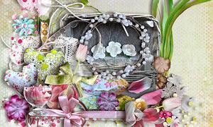 缎带花瓣与花卉植物等欧美剪贴素材