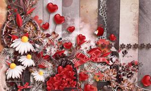 花朵缎带与杯子心形等欧美剪贴素材