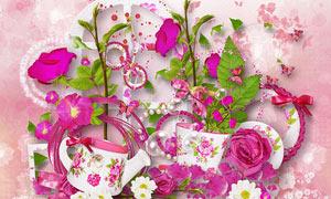 玫瑰花朵与花瓣绿叶等欧美剪贴素材