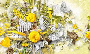 树叶草帽与蝴蝶小鸟等欧美剪贴素材