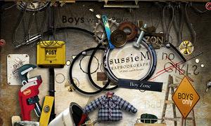 锤子钳子与纽扣箱子等欧美剪贴素材