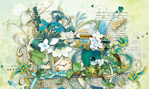 绿叶花朵与边框缎带等欧美剪贴素材