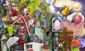 喜鹊鸟笼与猫咪彩虹灯欧美剪贴素材