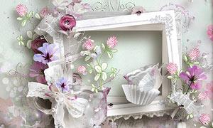 纸花边框与纸张蝴蝶等欧美剪贴素材
