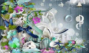 藤蔓蝴蝶与花鸟海星等欧美剪贴素材