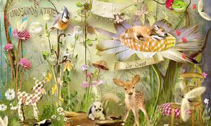草丛花朵与小鹿蘑菇等欧美剪贴素材