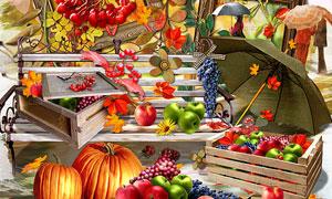壁灯花朵与苹果葡萄等欧美剪贴素材