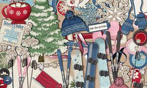 帽子缎带与滑雪装备等欧美剪贴素材