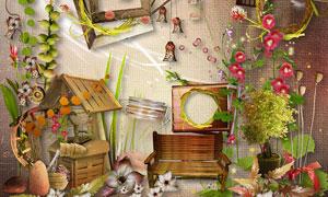 小鸟相框与缎带植物等欧美剪贴素材