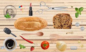 面包辣椒与番茄剪刀等物品分层素材