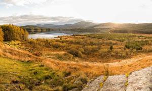 秋季野外湖泊草原美景摄影图片