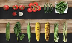 西红柿番茄酱与笋瓜等蔬菜分层素材