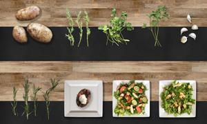 土豆與餐盤里的蔬菜沙拉等分層素材