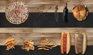 披薩薯條與熱狗等物品PSD分層素材