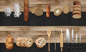 木板上的面包与厨具等物品分层素材