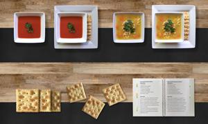 番茄湯雞湯面與蘇打餅干等分層素材