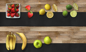 草莓香蕉與檸檬蘋果等水果分層素材