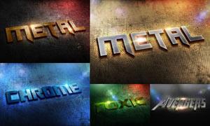 5款时尚绚丽的金属艺术字PSD模板
