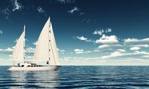 云朵与在海面上的帆船摄影高清图片