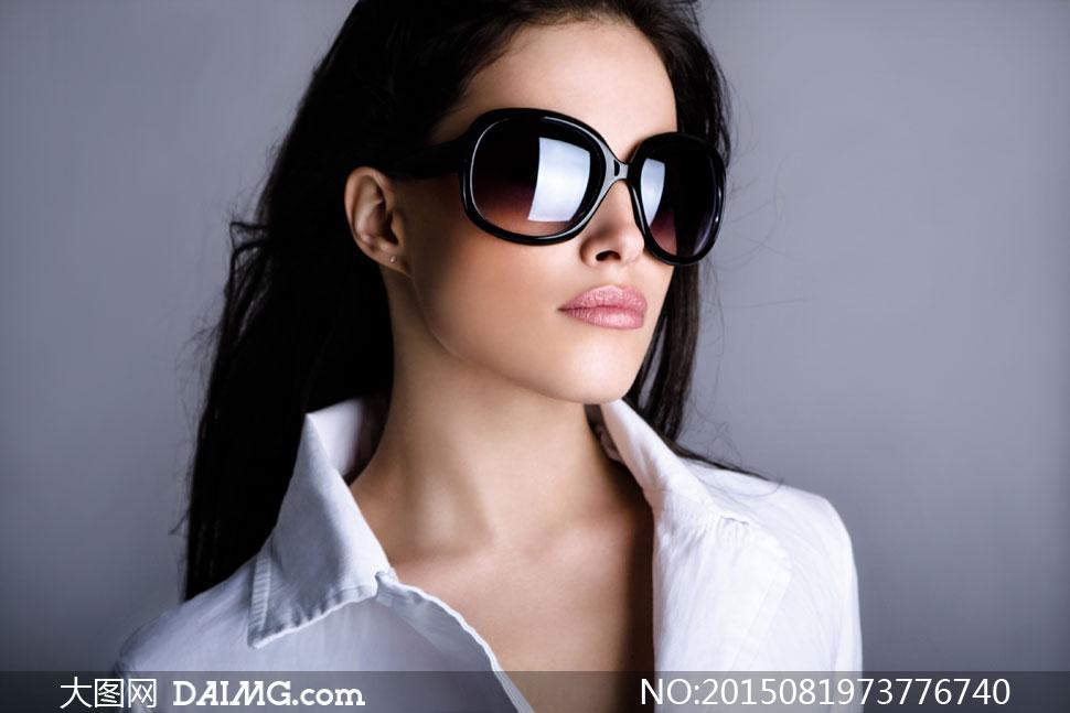 人物黑色情趣墨镜长发v人物美女高清-大图网设女图片穿播主韩国服图片