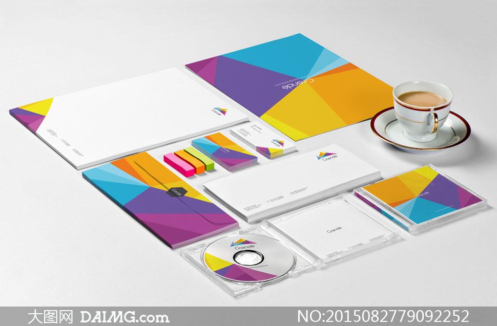 效果展示产品展示vi贴图ci贴图名片信纸便签纸信封光盘盒dvdcd咖啡杯