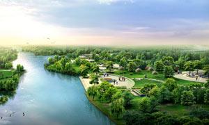 白湖公园景观园林效果图PSD分层素材