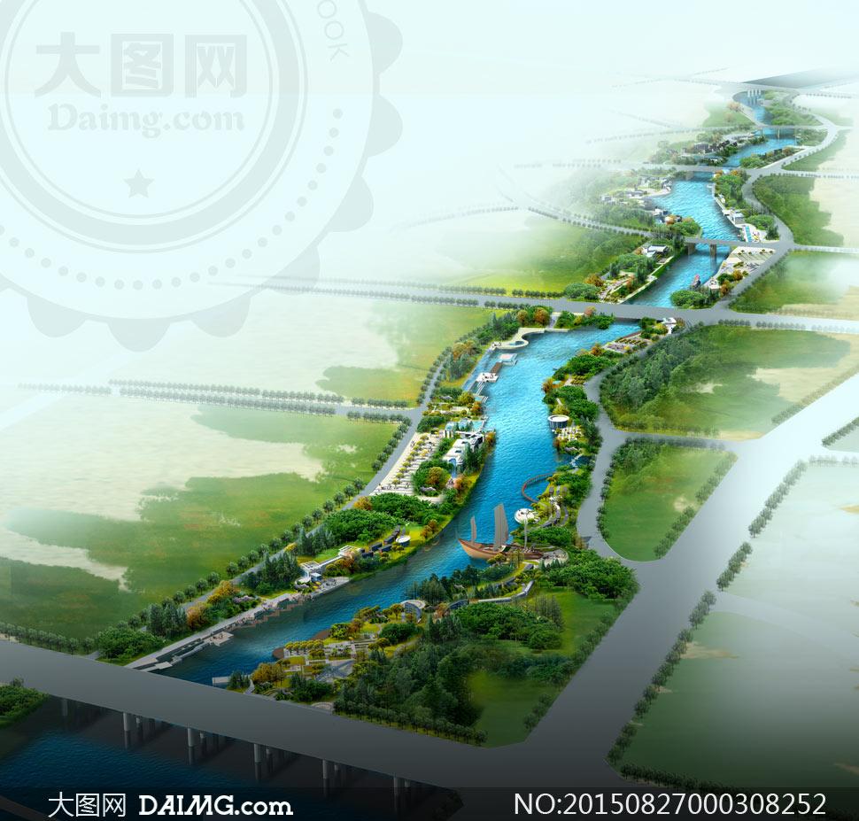 河道两岸绿化景观效果图psd素材