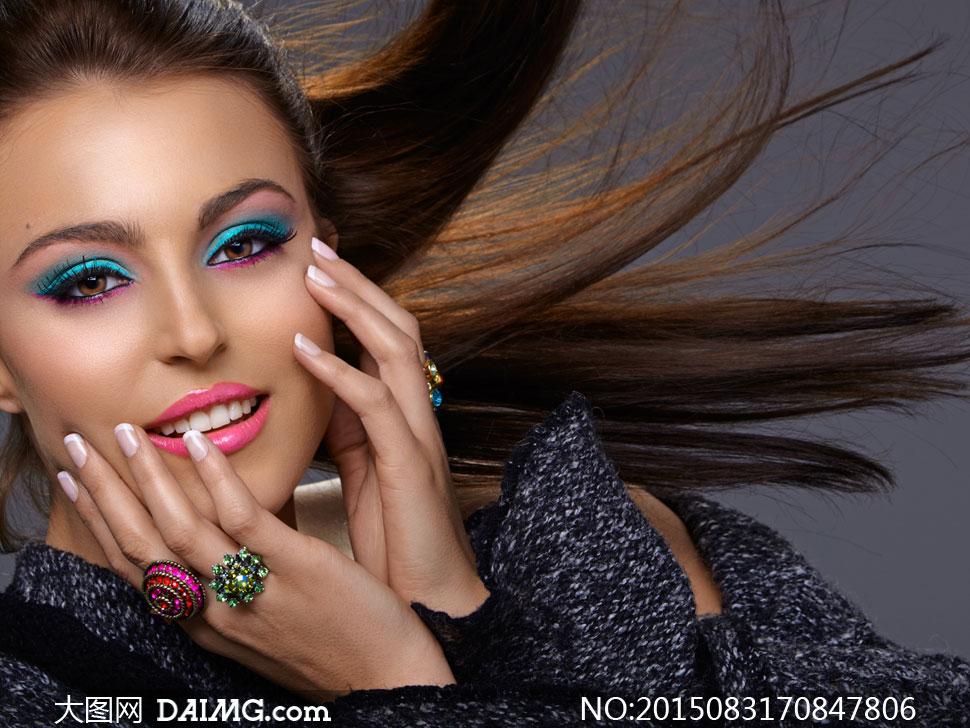 飘逸情趣美女人物图片摄影长发酒店彩妆电动高清床用法房图片
