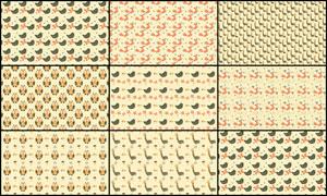 8款可愛的動物圖形背景PS圖案
