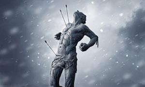 暴风雪中的勇士雕塑合成PS教程素材