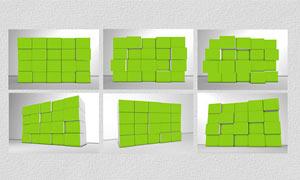 创意的3D立体拼图效果PSD模板V4