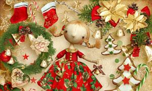 袜子吊球与圣诞娃娃等欧美剪贴素材
