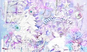 雪人围巾与纸花丝带等欧美剪贴素材