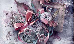 花朵蝴蝶与边框丝带等欧美剪贴素材