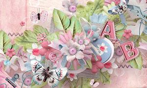 相框花朵与叶子丝带等欧美剪贴素材