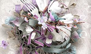 丝带小鸟与鸟笼布花等欧美剪贴素材