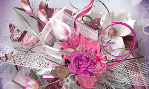 边框花朵与泡泡丝带等欧美剪贴素材