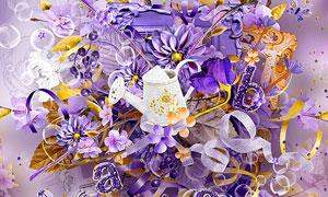 树叶花朵与相框缎带等欧美剪贴素材