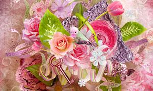 相框鲜花与缎带泡泡等欧美剪贴素材