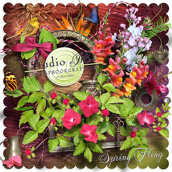 花卉植物与蝴蝶绳子等欧美剪贴素材