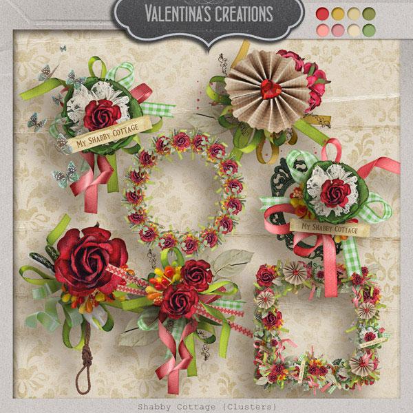 相框花朵与缎带吊牌等欧美剪贴素材