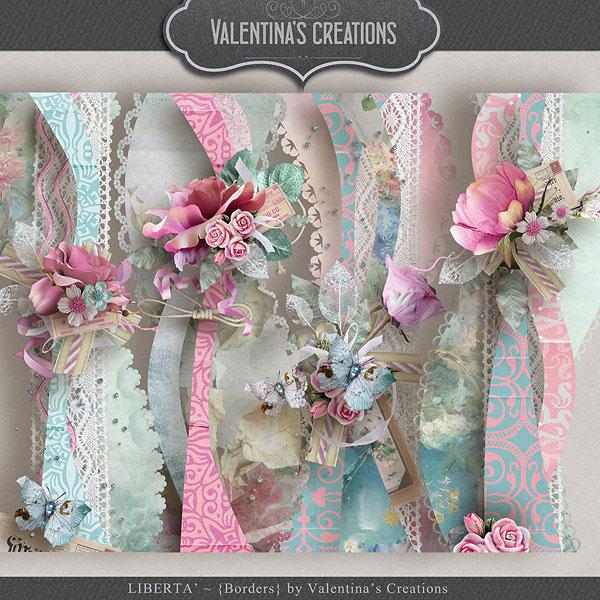 花朵缎带与边框叶子等欧美剪贴素材