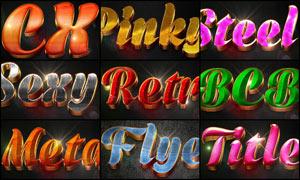 10款绚丽质感的3D立体字PSD模板