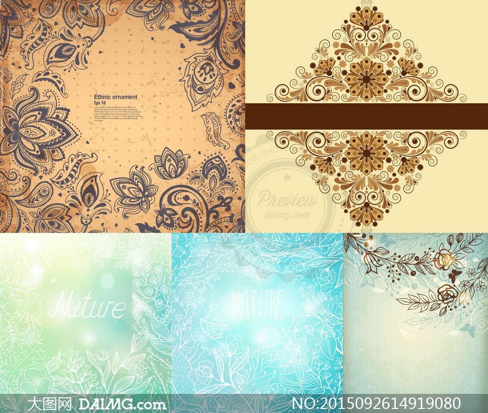复古纹饰与白描花纹图案等矢量素材