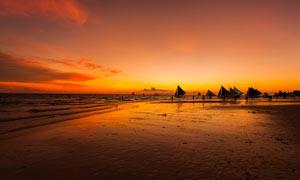 海边落日余晖美景摄影图片