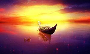 湖泊中的小舟黄昏美景效果PS教程素材