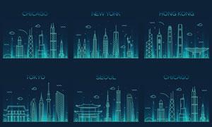 著名城市地标建筑剪影矢量素材V02